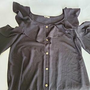 Oddy black ruffle peep shoulder blouse exposed